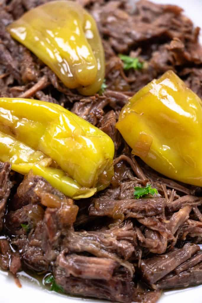 Tender shredded beef topped with pepperoncini peppers
