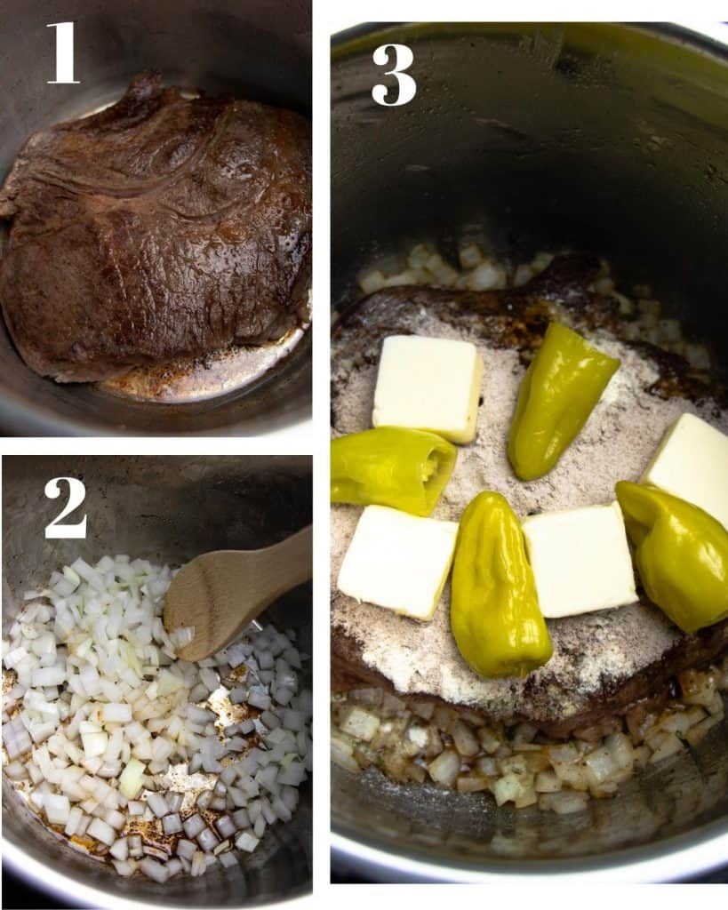 3 photos. First of Beef frying in Instant pot. Second of onions frying, and third of beef topped with seasoning, 3 slices of butter and 4 peppers
