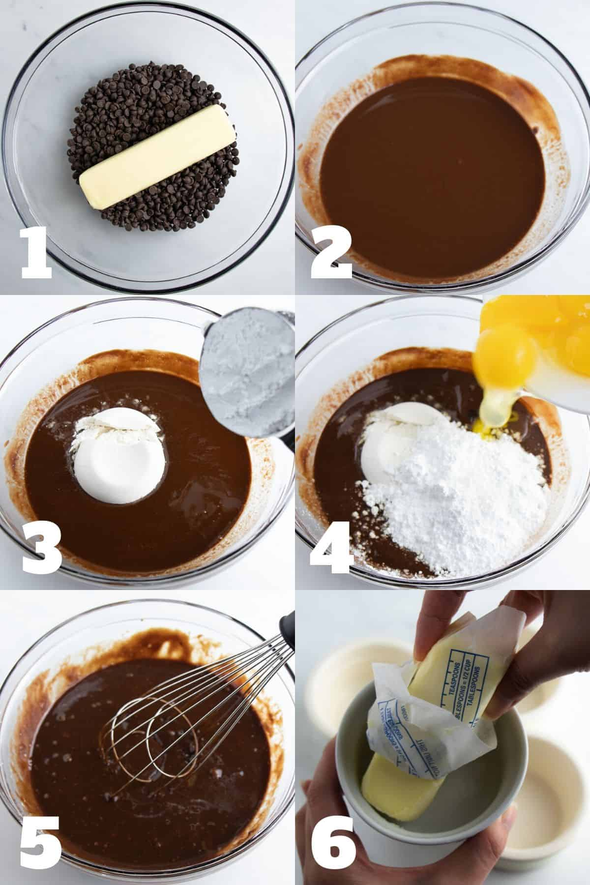 Steps to make chocolate lava cake: butter and chocolate chips melted, add flour, confectioner's sugar, eggs, and whisk.