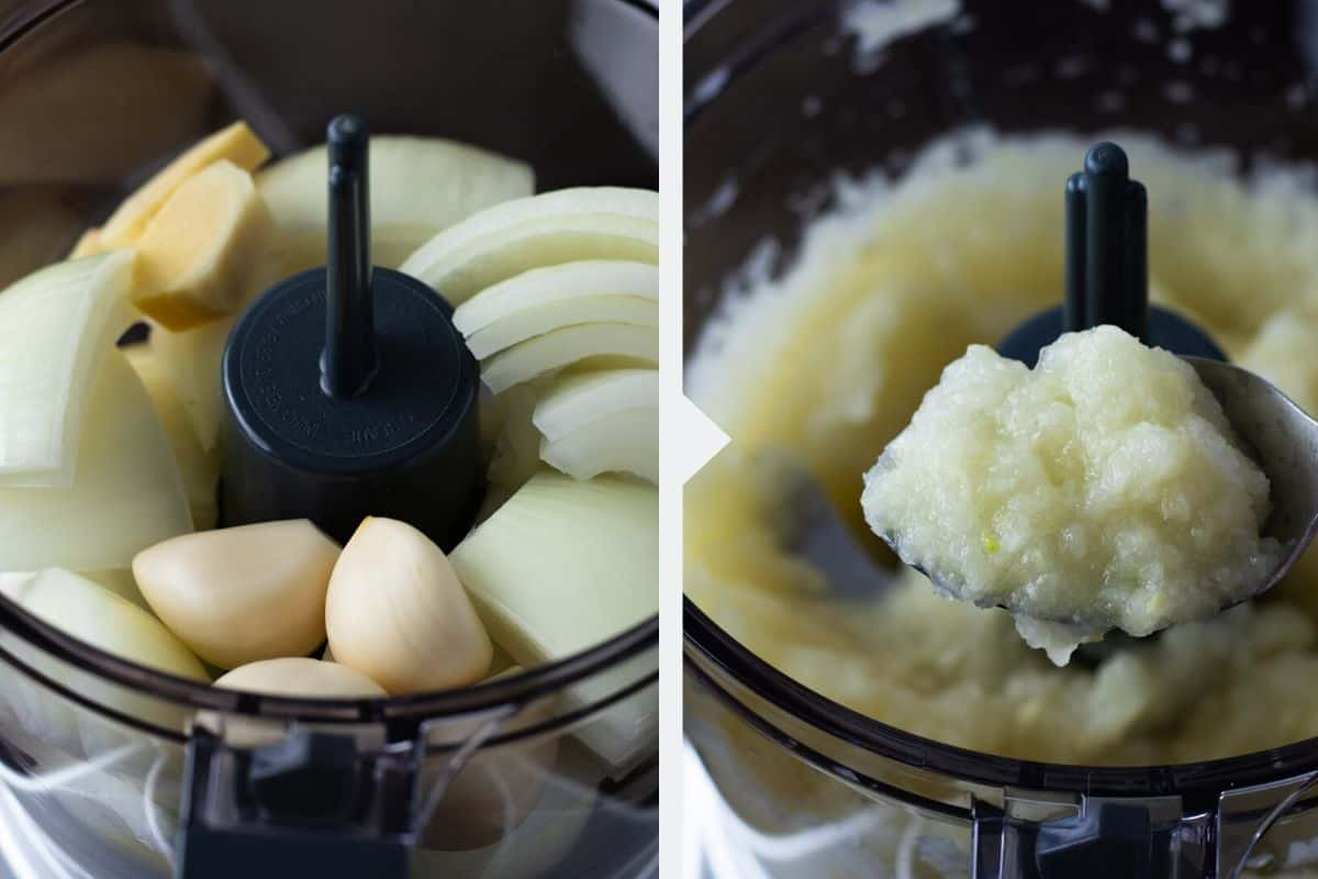 Onions, garlic cloves and ginger in a food processor forming a smooth paste