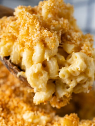 wooden spoon taking a spoonful of mac and cheese topped with breadcrumb