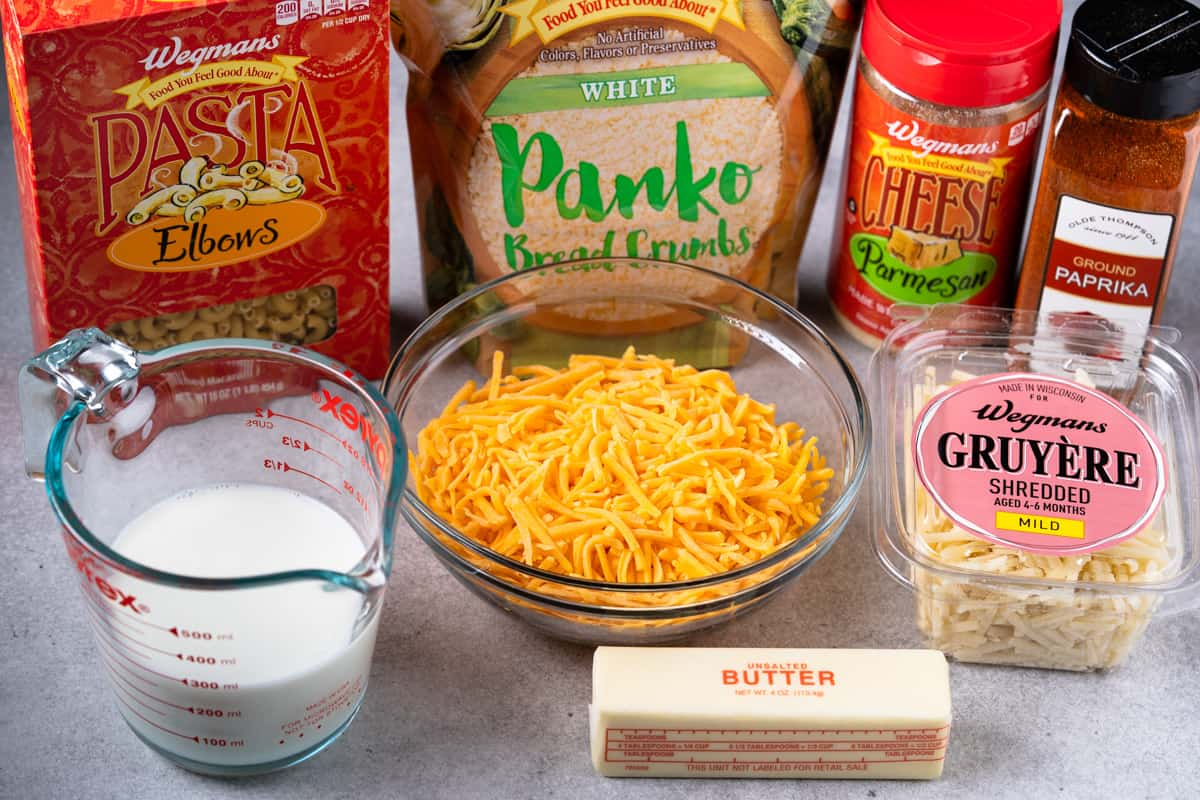 ingredients for the mac and cheese: elbow pasta, milk, cheese, butter, paprika and Panko breadcrumbs