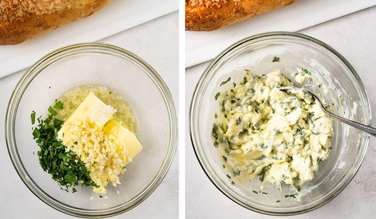 two pictures: First picture showing bowl with butter, olive oil, garlic, salt and parsley. Second picture shows the ingredients mixed together.