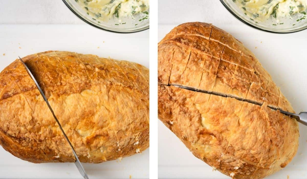 Steps to show how to cut the bread into a crosshatch pattern