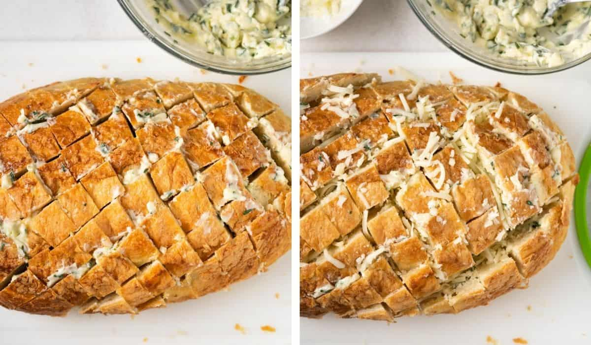 Two pictures showing how to stuff the butter mixture and cheese