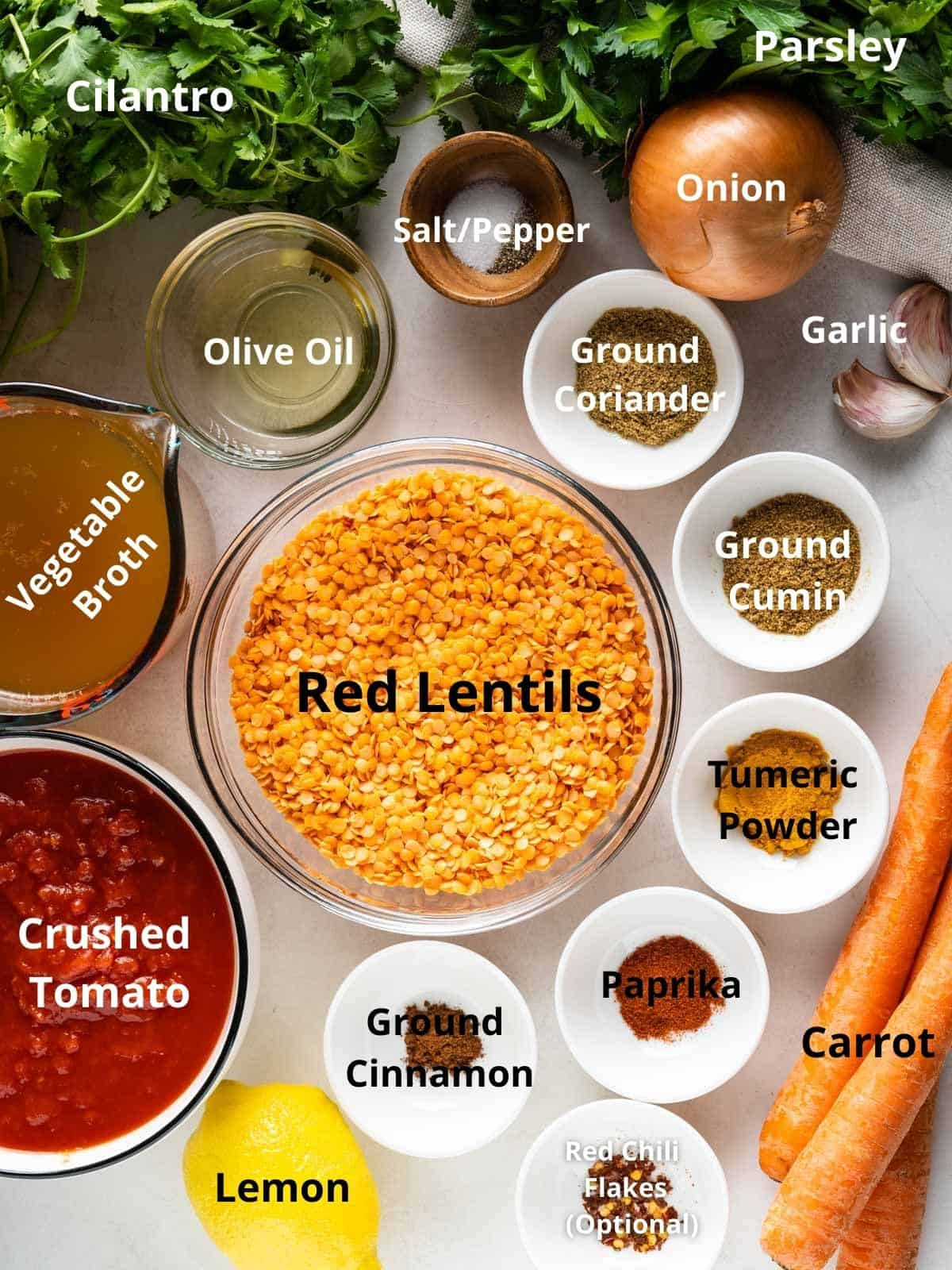 All the ingredients needed for this recipe, labeled