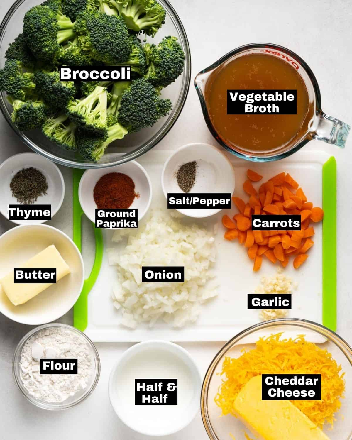 Ingredients for Instant Pot Broccoli Cheddar Soup