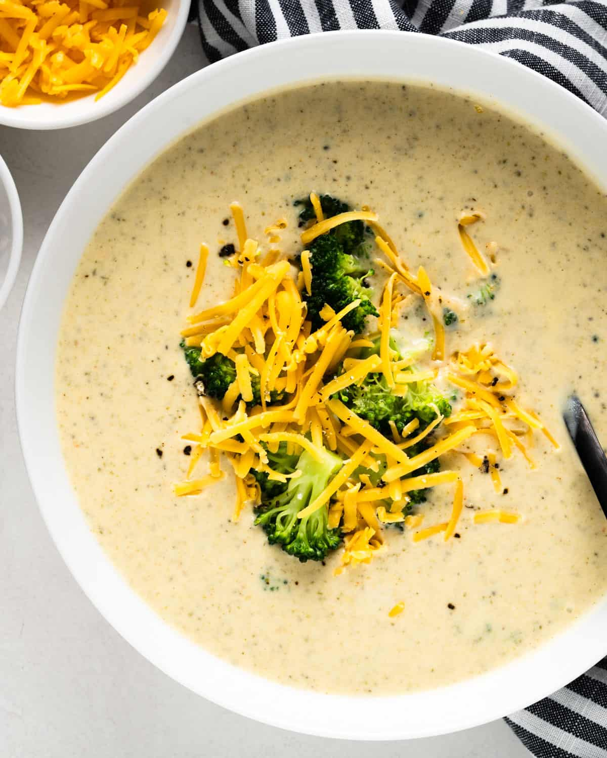 Bowl of Broccoli Cheddar Soup made in the Instant Pot