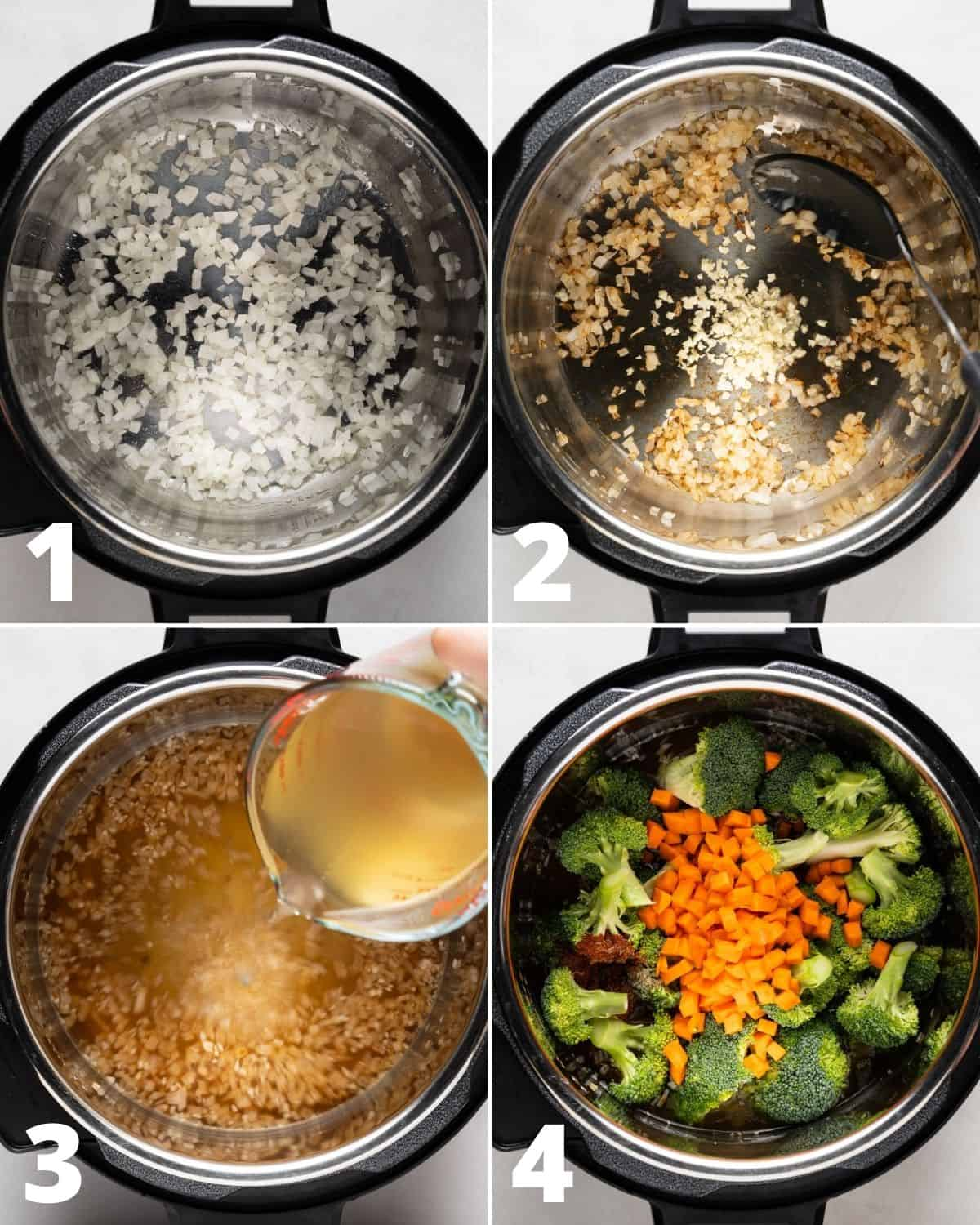 Steps to make Broccoli Cheddar Soup in the Instant Pot
