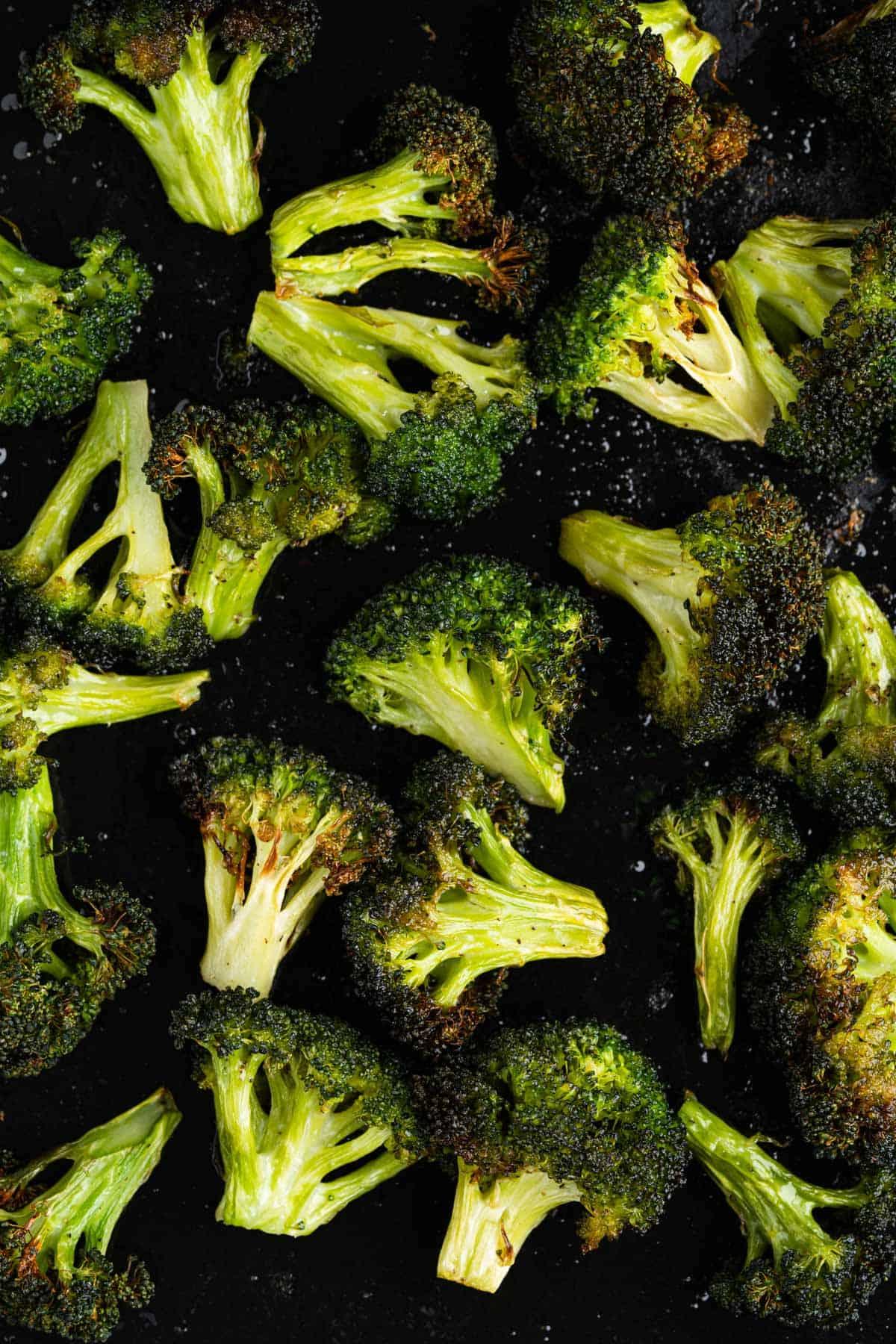Air fryer broccoli on tray