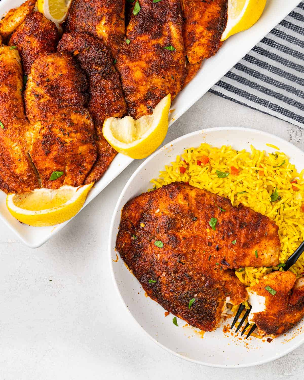 plates of air fried tilapia