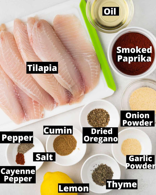 Ingredients needed for air fryer blackened tilapia