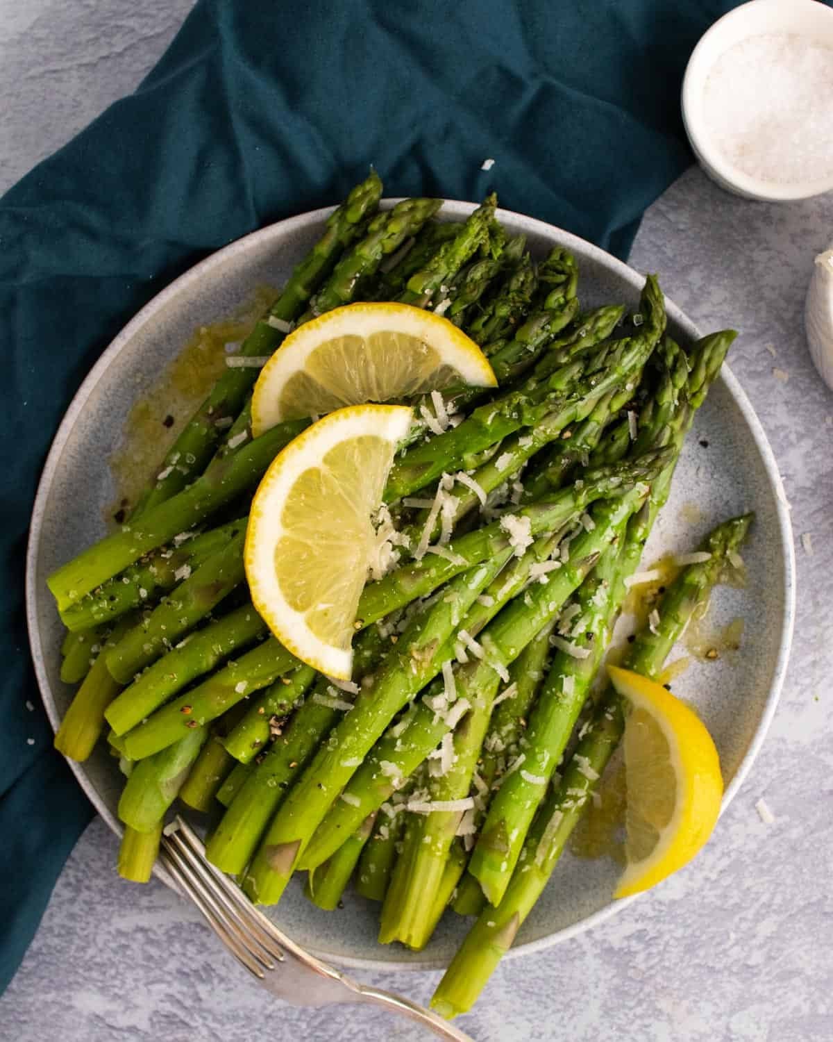 A plate of asparagus cooked in the instant pot