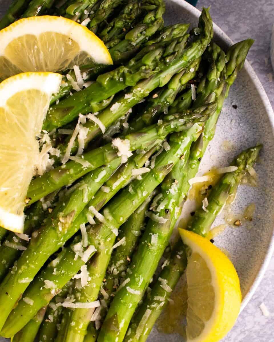 Plate of instant pot asparagus