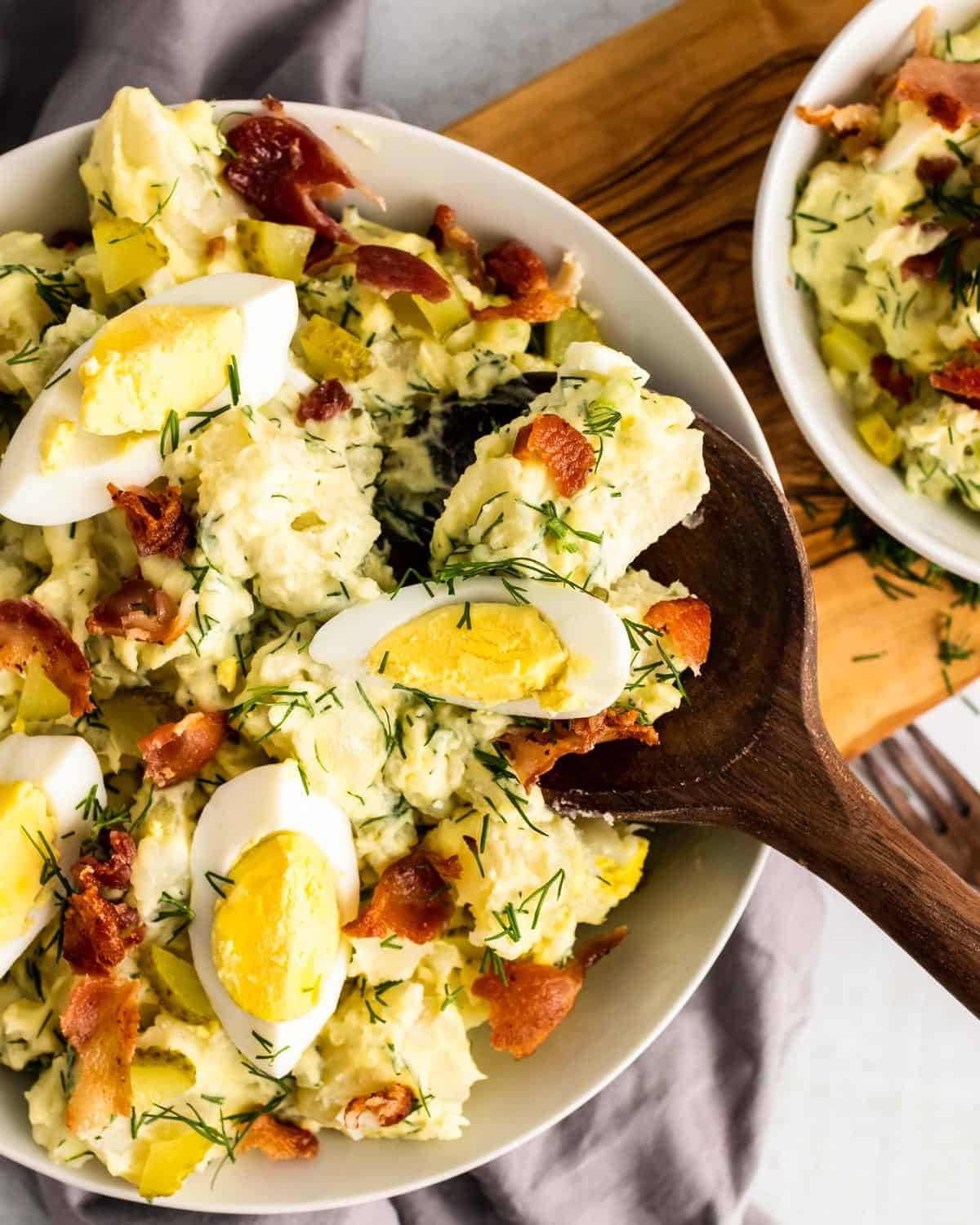 Bowl of potato salad made in the instant pot