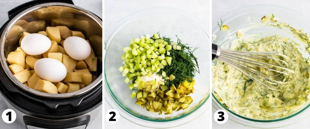 Process steps to make Instant Pot Potato Salad