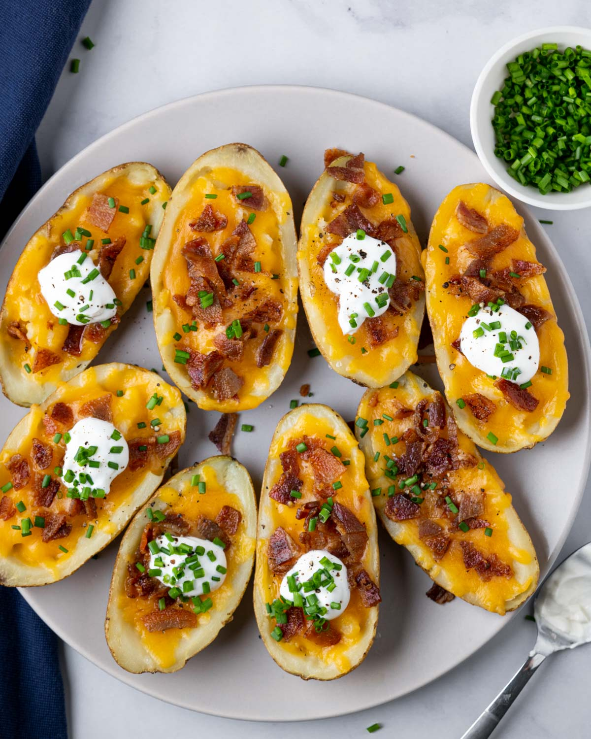 plate of potato skins made in the air fryer